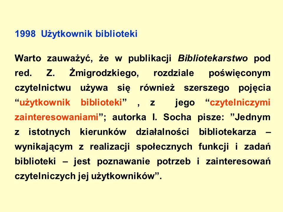 1998 Użytkownik biblioteki Warto zauważyć, że w publikacji Bibliotekarstwo pod red.