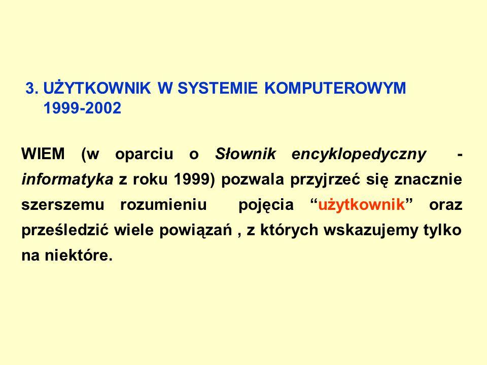3. UŻYTKOWNIK W SYSTEMIE KOMPUTEROWYM 1999-2002 WIEM (w oparciu o Słownik encyklopedyczny - informatyka z roku 1999) pozwala przyjrzeć się znacznie sz