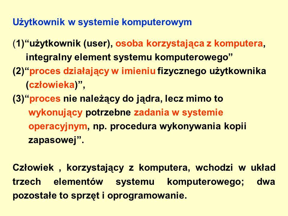 Użytkownik w systemie komputerowym (1) użytkownik (user), osoba korzystająca z komputera, integralny element systemu komputerowego (2) proces działający w imieniu fizycznego użytkownika (człowieka) , (3) proces nie należący do jądra, lecz mimo to wykonujący potrzebne zadania w systemie operacyjnym, np.