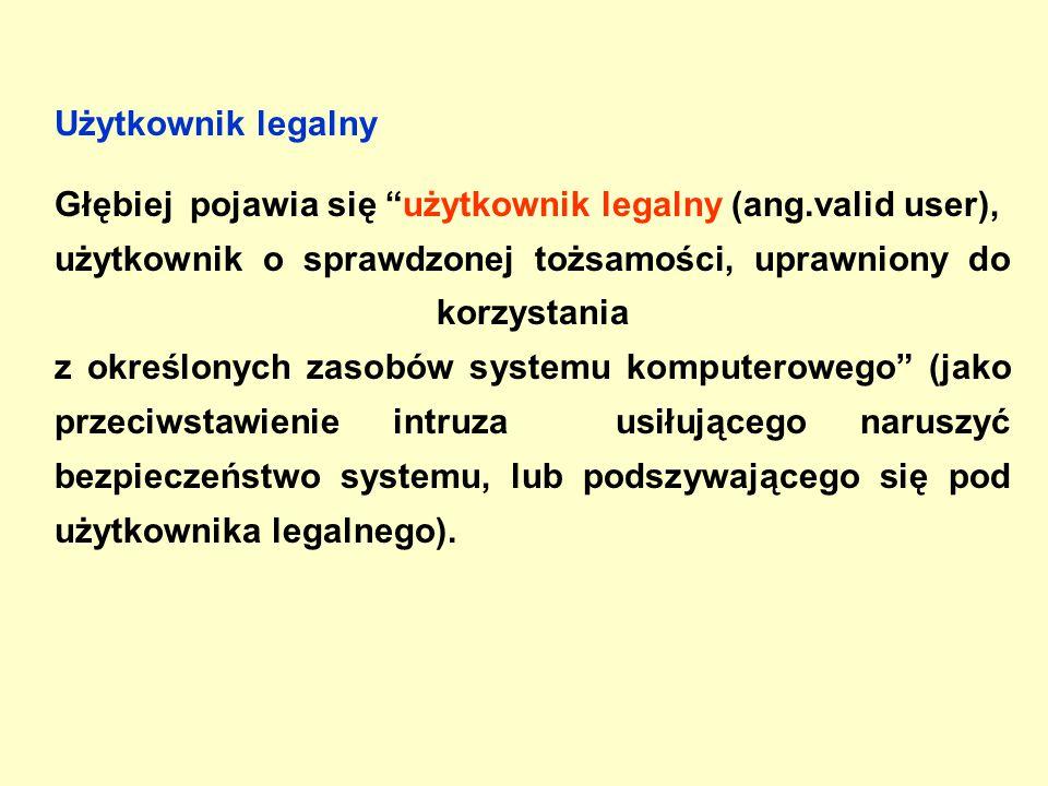 Użytkownik legalny Głębiej pojawia się użytkownik legalny (ang.valid user), użytkownik o sprawdzonej tożsamości, uprawniony do korzystania z określonych zasobów systemu komputerowego (jako przeciwstawienie intruza usiłującego naruszyć bezpieczeństwo systemu, lub podszywającego się pod użytkownika legalnego).