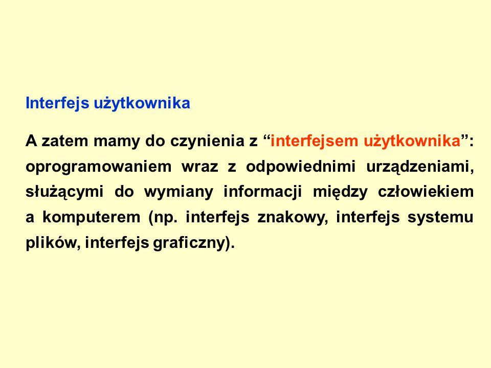 Interfejs użytkownika A zatem mamy do czynienia z interfejsem użytkownika : oprogramowaniem wraz z odpowiednimi urządzeniami, służącymi do wymiany informacji między człowiekiem a komputerem (np.