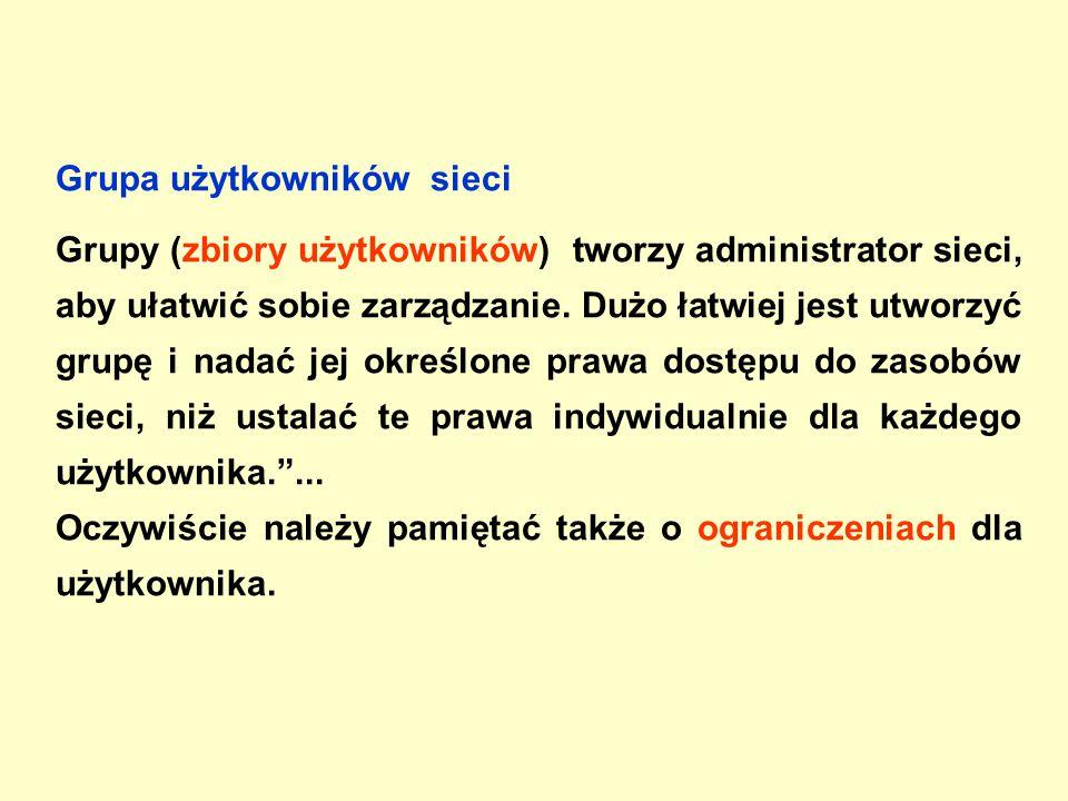 Grupa użytkowników sieci Grupy (zbiory użytkowników) tworzy administrator sieci, aby ułatwić sobie zarządzanie.
