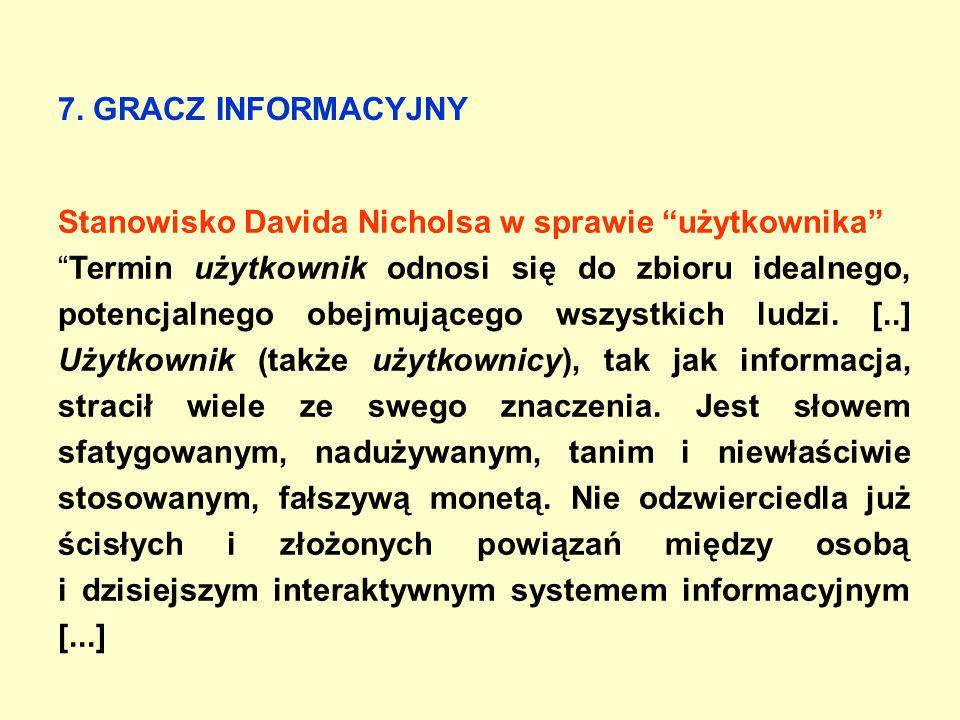 """7. GRACZ INFORMACYJNY Stanowisko Davida Nicholsa w sprawie """"użytkownika"""" """"Termin użytkownik odnosi się do zbioru idealnego, potencjalnego obejmującego"""
