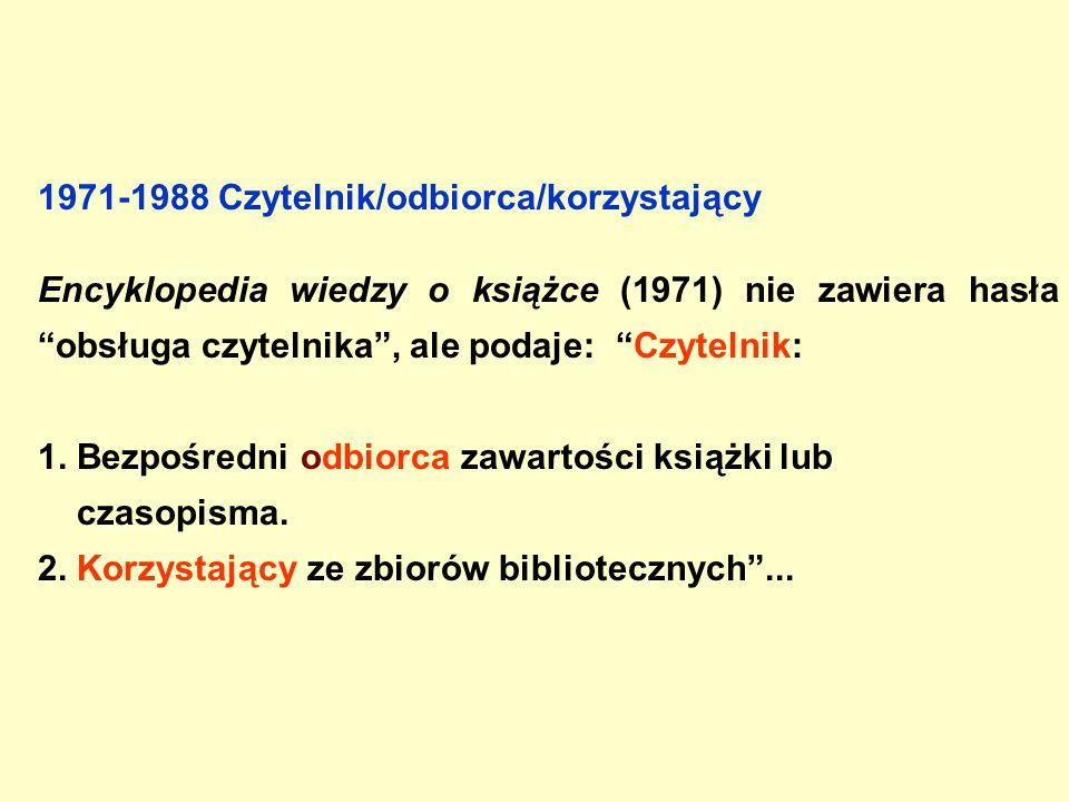Umiejętności czytania i przyswajania treści Usługi biblioteczne Encyklopedia współczesnego bibliotekarstwa polskiego (1976) przedstawia czytelnika nie tylko jako osobę korzystającą z lektur w bibliotece: czytelnik, osoba umiejąca czytać i przyswajać sobie treści zawarte w lekturze oraz korzystająca z tych umiejętności indywidualnie lub w ramach usług bibl[iotecznych] .