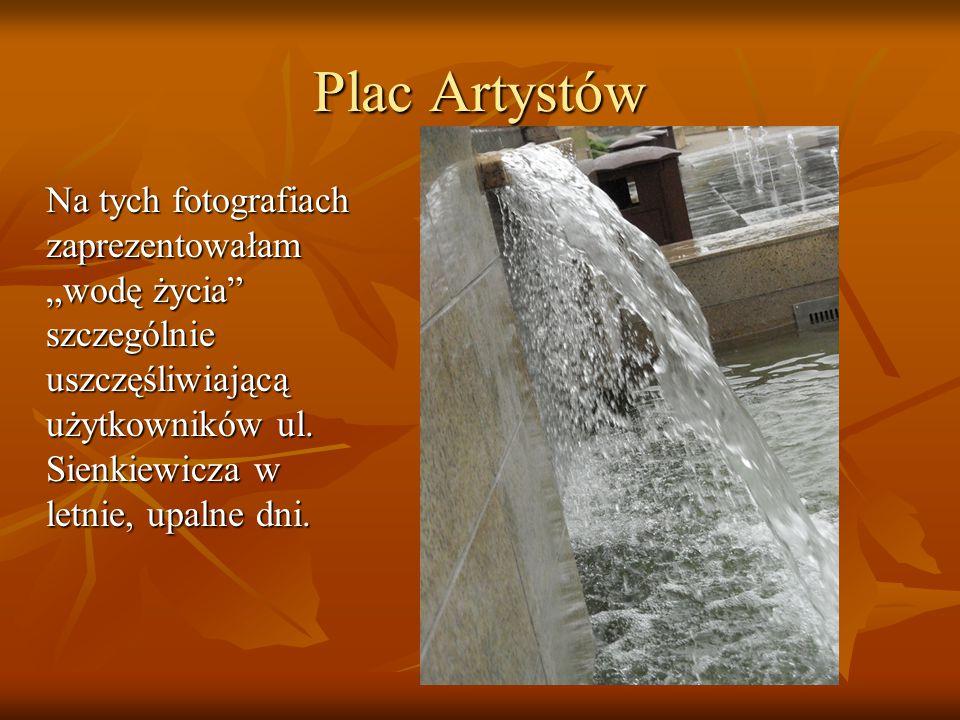 """Na tych fotografiach zaprezentowałam """"wodę życia"""" szczególnie uszczęśliwiającą użytkowników ul. Sienkiewicza w letnie, upalne dni. Plac Artystów"""