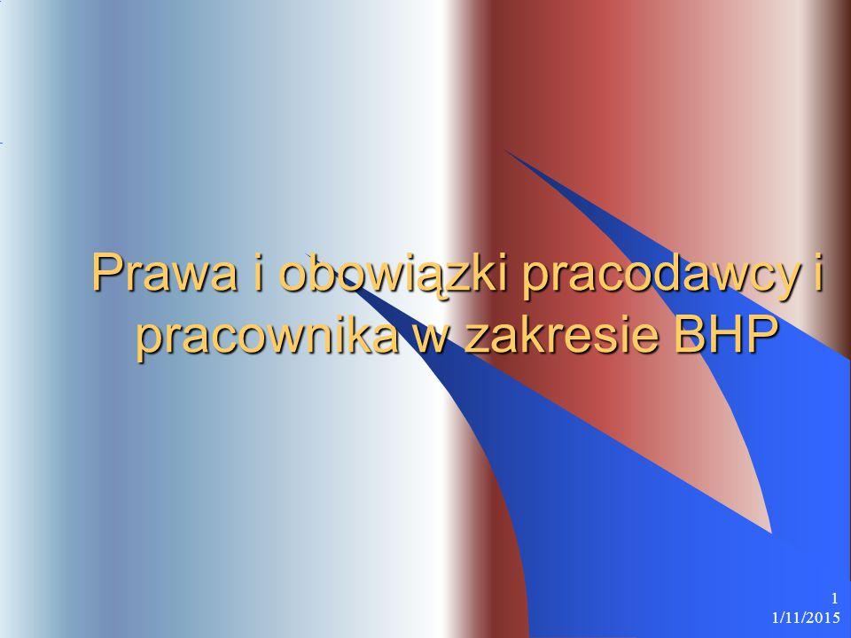 1/11/2015 1 Prawa i obowiązki pracodawcy i pracownika w zakresie BHP