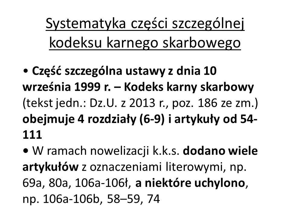 Systematyka części szczególnej kodeksu karnego skarbowego Część szczególna ustawy z dnia 10 września 1999 r. – Kodeks karny skarbowy (tekst jedn.: Dz.