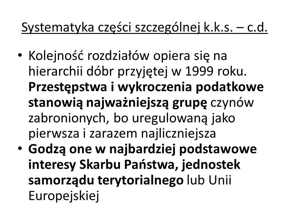 Systematyka części szczególnej k.k.s. – c.d. Kolejność rozdziałów opiera się na hierarchii dóbr przyjętej w 1999 roku. Przestępstwa i wykroczenia poda