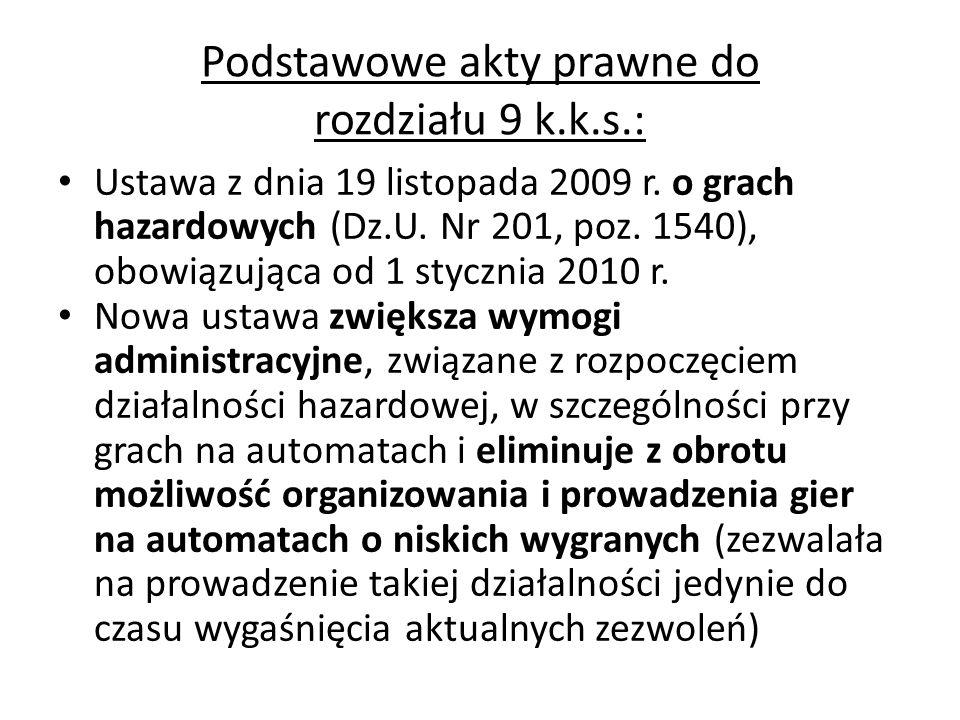 Podstawowe akty prawne do rozdziału 9 k.k.s.: Ustawa z dnia 19 listopada 2009 r. o grach hazardowych (Dz.U. Nr 201, poz. 1540), obowiązująca od 1 styc