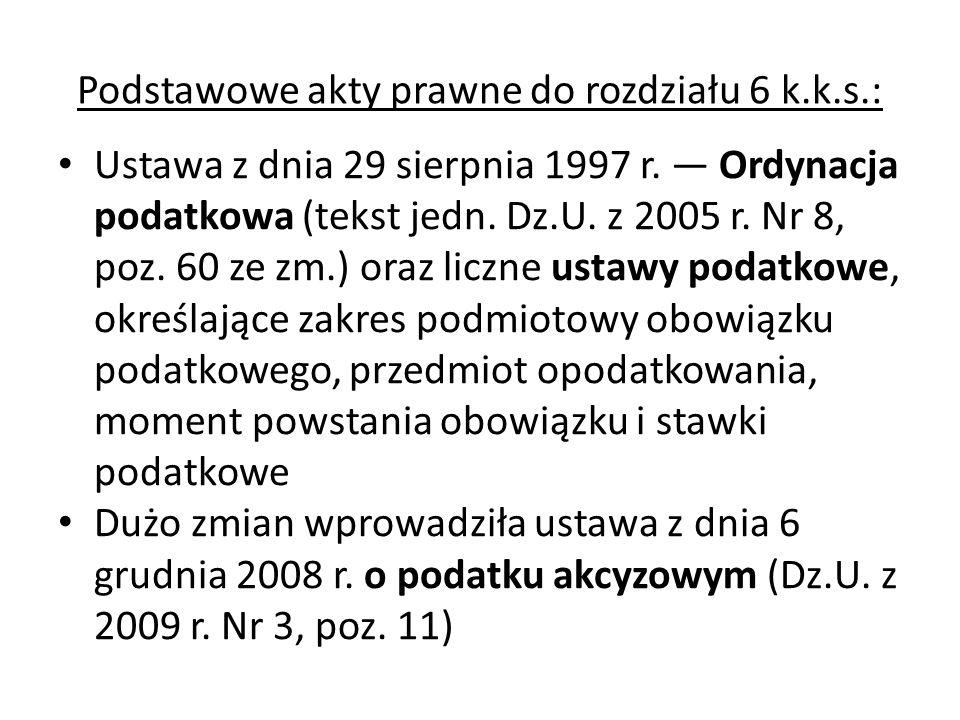 Podstawowe akty prawne do rozdziału 6 k.k.s.: Ustawa z dnia 29 sierpnia 1997 r. — Ordynacja podatkowa (tekst jedn. Dz.U. z 2005 r. Nr 8, poz. 60 ze zm