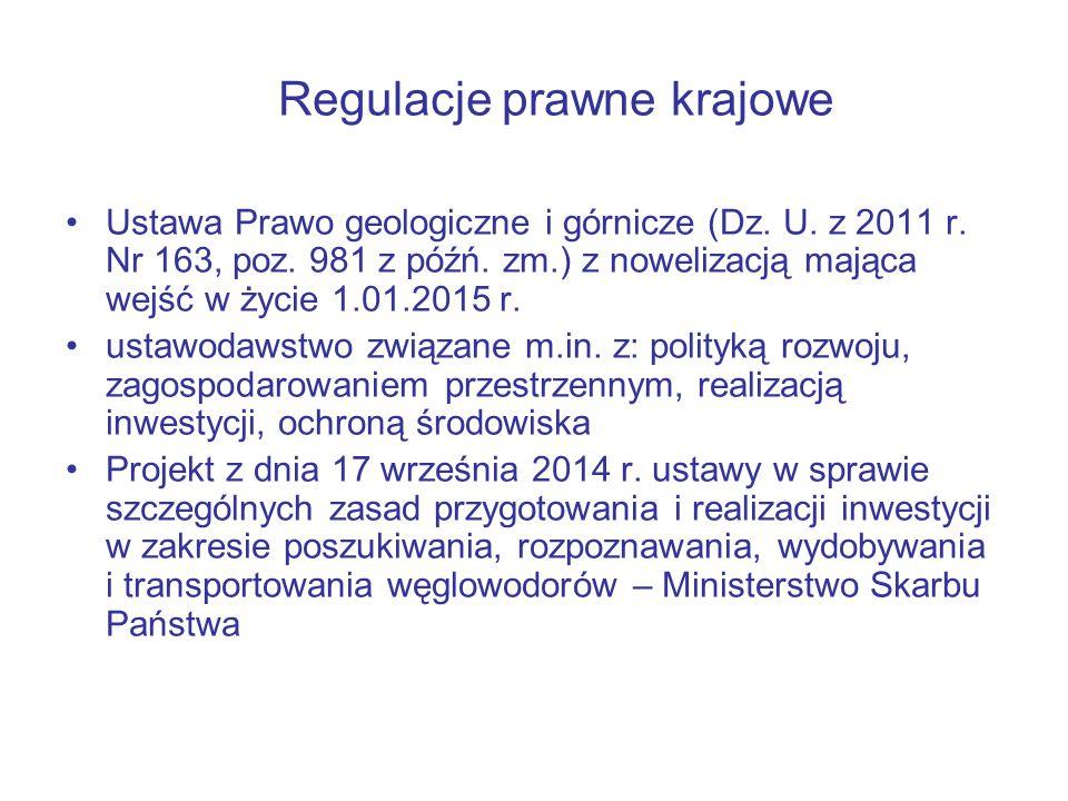 Regulacje prawne krajowe Ustawa Prawo geologiczne i górnicze (Dz.