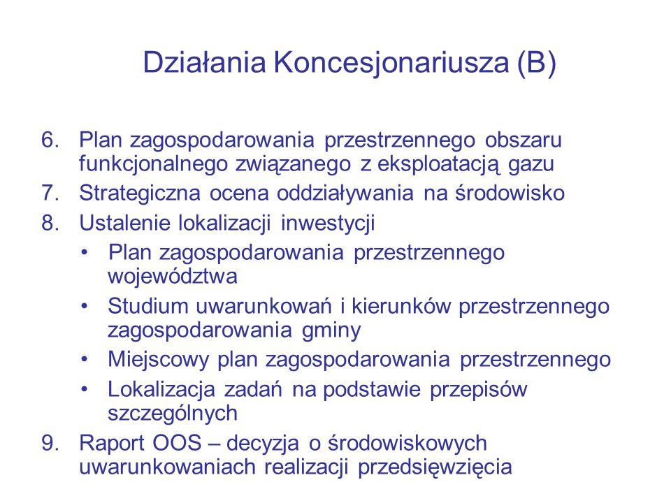 Działania Koncesjonariusza (B) 6.Plan zagospodarowania przestrzennego obszaru funkcjonalnego związanego z eksploatacją gazu 7.Strategiczna ocena oddziaływania na środowisko 8.Ustalenie lokalizacji inwestycji Plan zagospodarowania przestrzennego województwa Studium uwarunkowań i kierunków przestrzennego zagospodarowania gminy Miejscowy plan zagospodarowania przestrzennego Lokalizacja zadań na podstawie przepisów szczególnych 9.Raport OOS – decyzja o środowiskowych uwarunkowaniach realizacji przedsięwzięcia