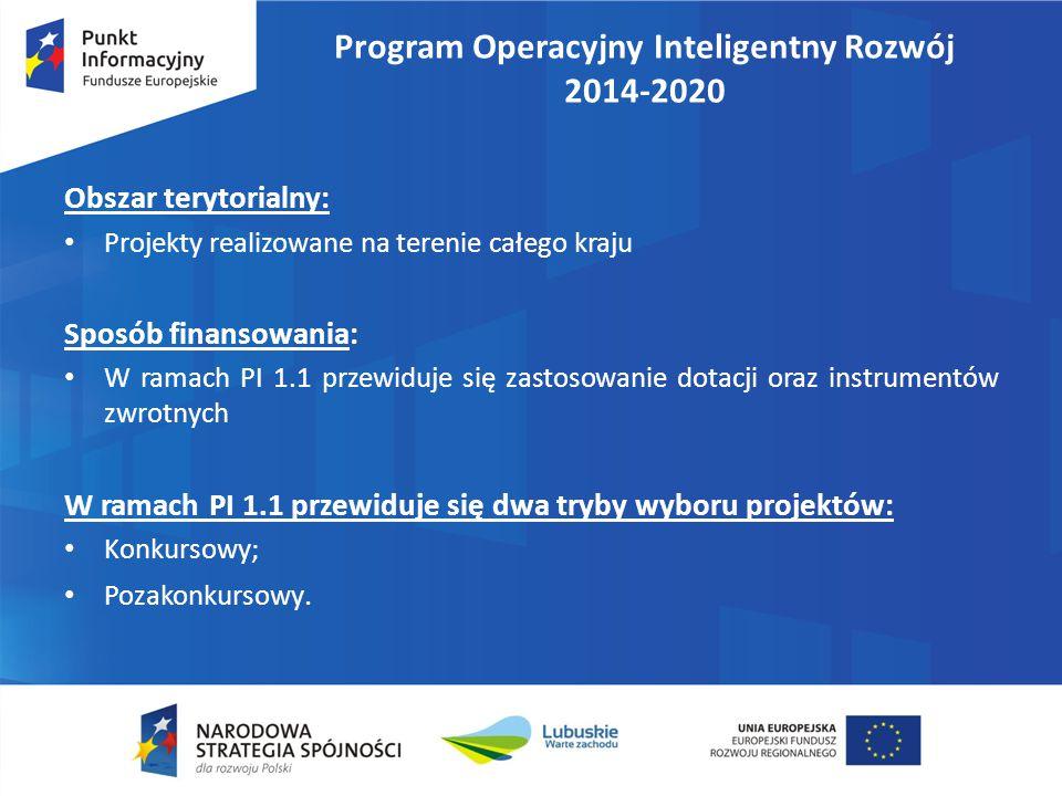 Program Operacyjny Inteligentny Rozwój 2014-2020 Obszar terytorialny: Projekty realizowane na terenie całego kraju Sposób finansowania: W ramach PI 1.1 przewiduje się zastosowanie dotacji oraz instrumentów zwrotnych W ramach PI 1.1 przewiduje się dwa tryby wyboru projektów: Konkursowy; Pozakonkursowy.