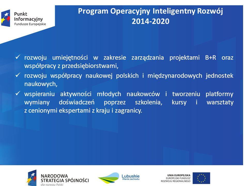 Program Operacyjny Inteligentny Rozwój 2014-2020 rozwoju umiejętności w zakresie zarządzania projektami B+R oraz współpracy z przedsiębiorstwami, rozwoju współpracy naukowej polskich i międzynarodowych jednostek naukowych, wspieraniu aktywności młodych naukowców i tworzeniu platformy wymiany doświadczeń poprzez szkolenia, kursy i warsztaty z cenionymi ekspertami z kraju i zagranicy.