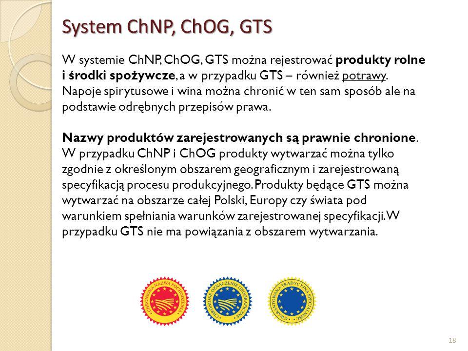 18 W systemie ChNP, ChOG, GTS można rejestrować produkty rolne i środki spożywcze, a w przypadku GTS – również potrawy. Napoje spirytusowe i wina możn