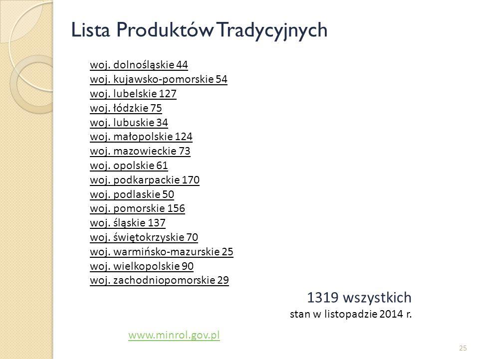 25 www.minrol.gov.pl woj. dolnośląskie 44 woj. kujawsko-pomorskie 54 woj. lubelskie 127 woj. łódzkie 75 woj. lubuskie 34 woj. małopolskie 124 woj. maz