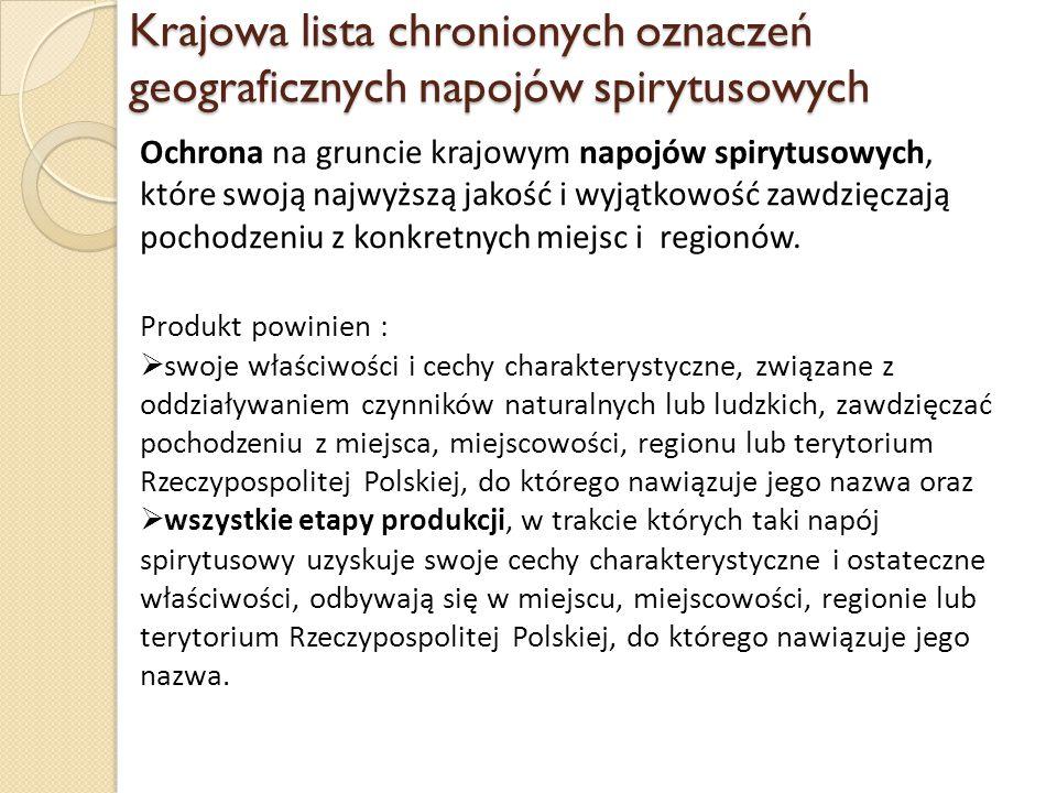 Krajowa lista chronionych oznaczeń geograficznych napojów spirytusowych Ochrona na gruncie krajowym napojów spirytusowych, które swoją najwyższą jakoś