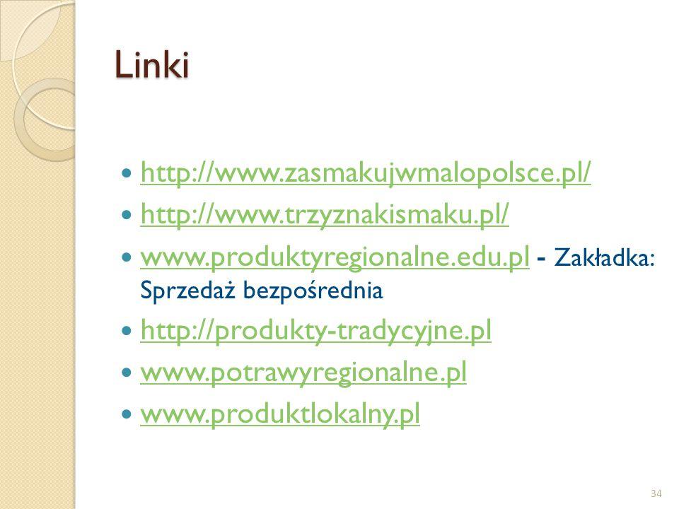 Linki http://www.zasmakujwmalopolsce.pl/ http://www.trzyznakismaku.pl/ www.produktyregionalne.edu.pl - Zakładka: Sprzedaż bezpośrednia www.produktyreg