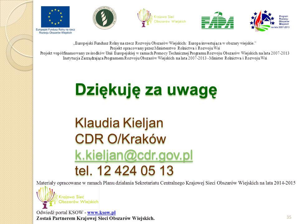 Dziękuję za uwagę Klaudia Kieljan CDR O/Kraków k.kieljan@cdr.gov.pl tel. 12 424 05 13 k.kieljan@cdr.gov.pl Dziękuję za uwagę Klaudia Kieljan CDR O/Kra