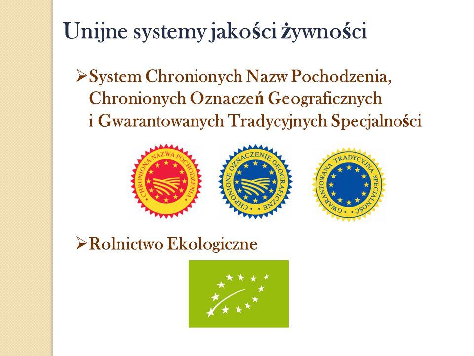 Unijne systemy jako ś ci ż ywno ś ci  System Chronionych Nazw Pochodzenia, Chronionych Oznacze ń Geograficznych i Gwarantowanych Tradycyjnych Specjal