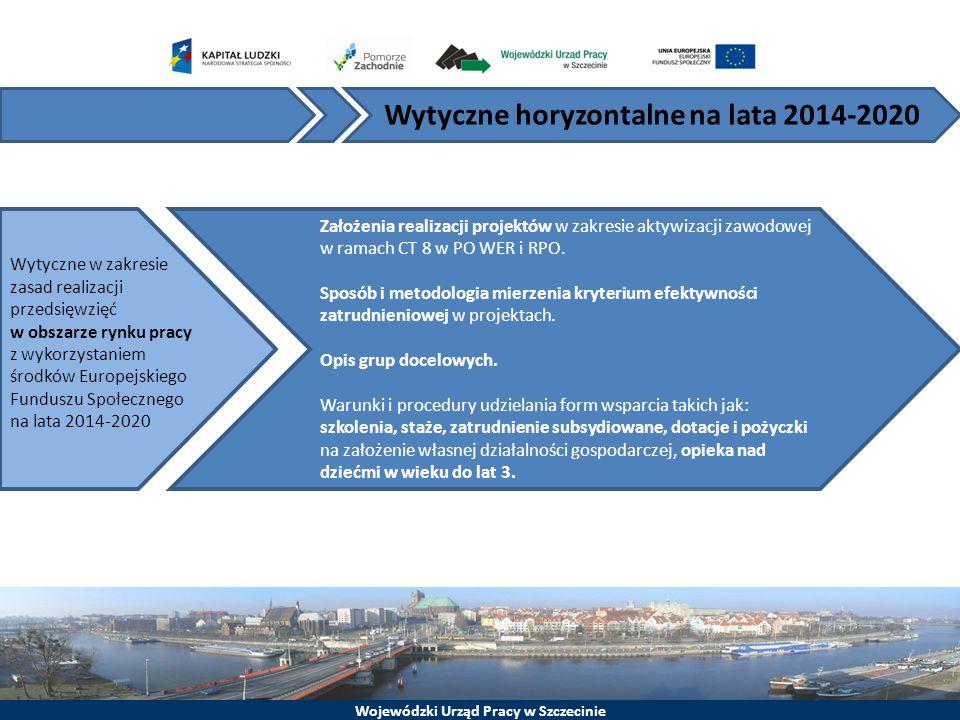 Wojewódzki Urząd Pracy w Szczecinie Wytyczne horyzontalne na lata 2014-2020 Założenia realizacji projektów w zakresie aktywizacji zawodowej w ramach C