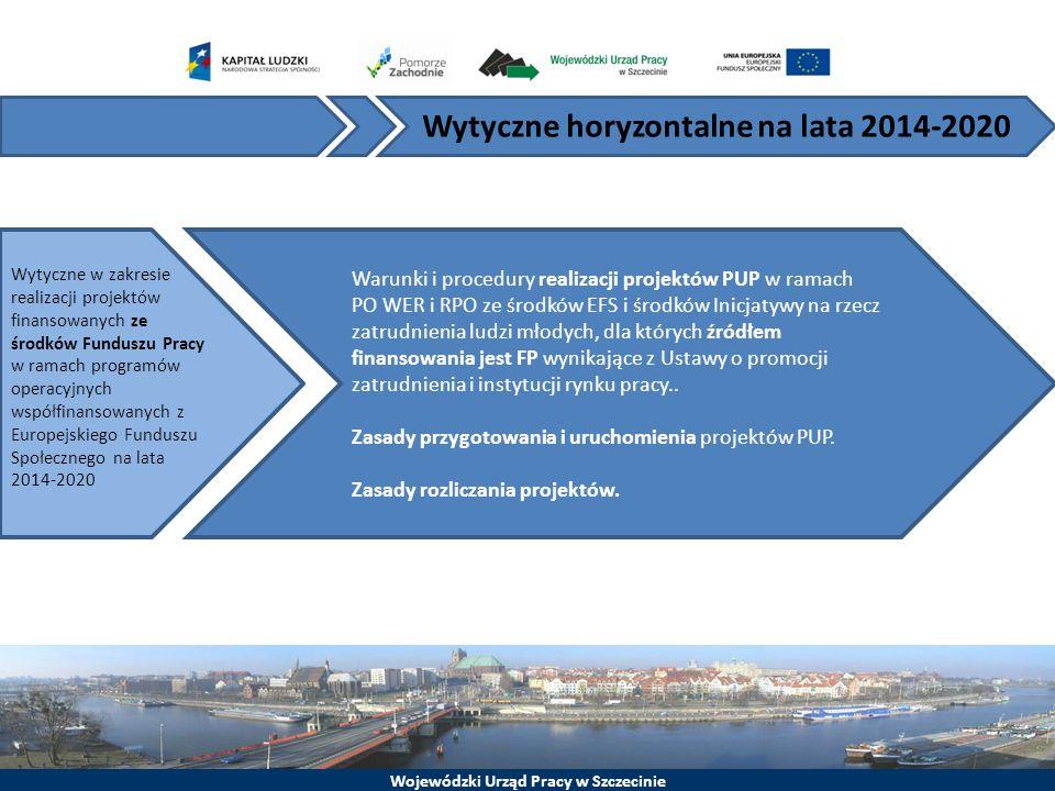 Wojewódzki Urząd Pracy w Szczecinie Warunki i procedury realizacji projektów PUP w ramach PO WER i RPO ze środków EFS i środków Inicjatywy na rzecz za