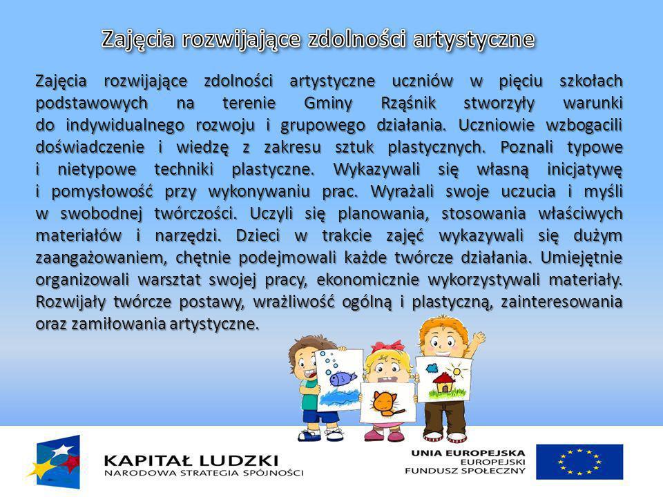 Zajęcia rozwijające zdolności artystyczne uczniów w pięciu szkołach podstawowych na terenie Gminy Rząśnik stworzyły warunki do indywidualnego rozwoju i grupowego działania.