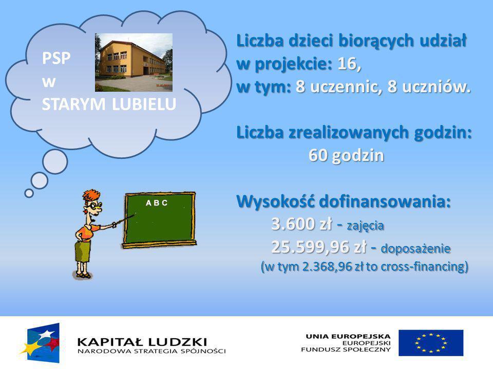 PSP w STARYM LUBIELU Liczba dzieci biorących udział w projekcie: 16, w tym: 8 uczennic, 8 uczniów.