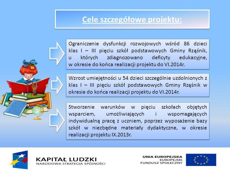 Cele szczegółowe projektu: Ograniczenie dysfunkcji rozwojowych wśród 86 dzieci klas I – III pięciu szkół podstawowych Gminy Rząśnik, u których zdiagnozowano deficyty edukacyjne, w okresie do końca realizacji projektu do VI.2014r.
