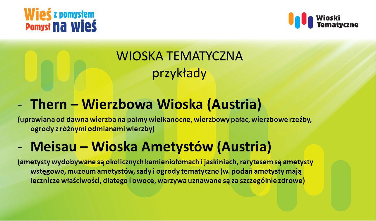 WIOSKA TEMATYCZNA przykłady -Thern – Wierzbowa Wioska (Austria) (uprawiana od dawna wierzba na palmy wielkanocne, wierzbowy pałac, wierzbowe rzeźby, ogrody z różnymi odmianami wierzby) -Meisau – Wioska Ametystów (Austria) (ametysty wydobywane są okolicznych kamieniołomach i jaskiniach, rarytasem są ametysty wstęgowe, muzeum ametystów, sady i ogrody tematyczne (w.