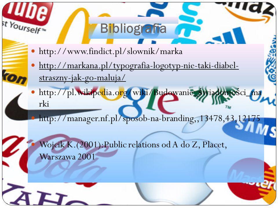 Bibliografia http://www.findict.pl/slownik/marka http://markana.pl/typografia-logotyp-nie-taki-diabel- straszny-jak-go-maluja/ http://pl.wikipedia.org