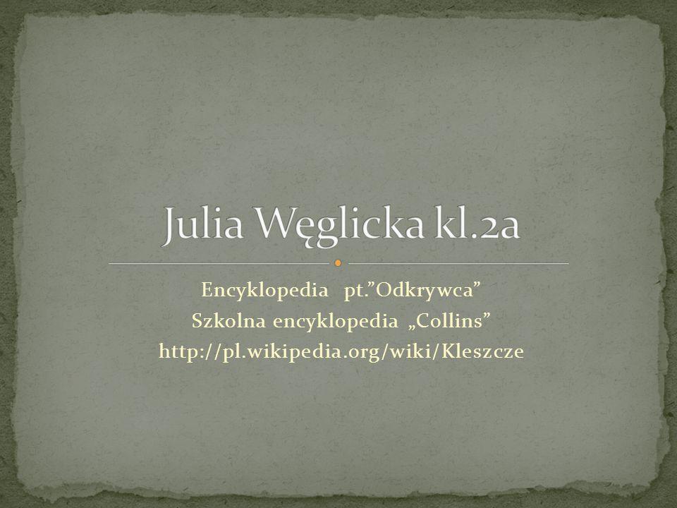 "Encyklopedia pt. Odkrywca Szkolna encyklopedia ""Collins http://pl.wikipedia.org/wiki/Kleszcze"