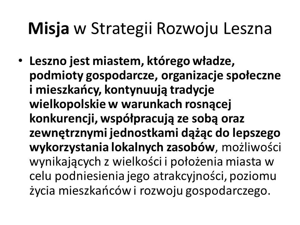 Misja w Strategii Rozwoju Leszna Leszno jest miastem, którego władze, podmioty gospodarcze, organizacje społeczne i mieszkańcy, kontynuują tradycje wi