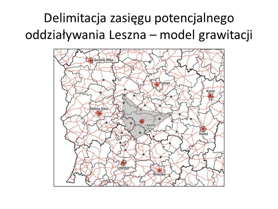 Delimitacja zasięgu potencjalnego oddziaływania Leszna – model grawitacji