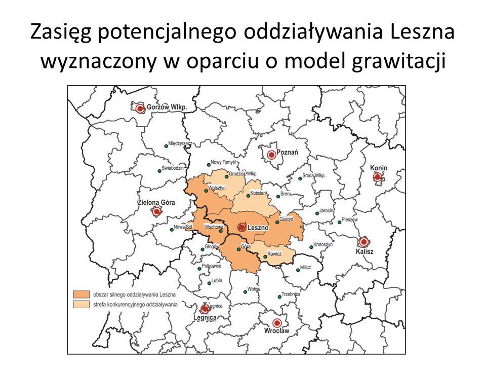 Zasięg potencjalnego oddziaływania Leszna wyznaczony w oparciu o model grawitacji