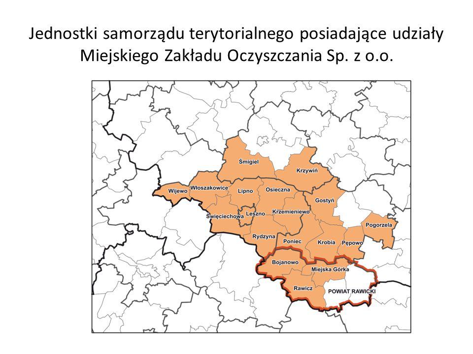 Jednostki samorządu terytorialnego posiadające udziały Miejskiego Zakładu Oczyszczania Sp. z o.o.