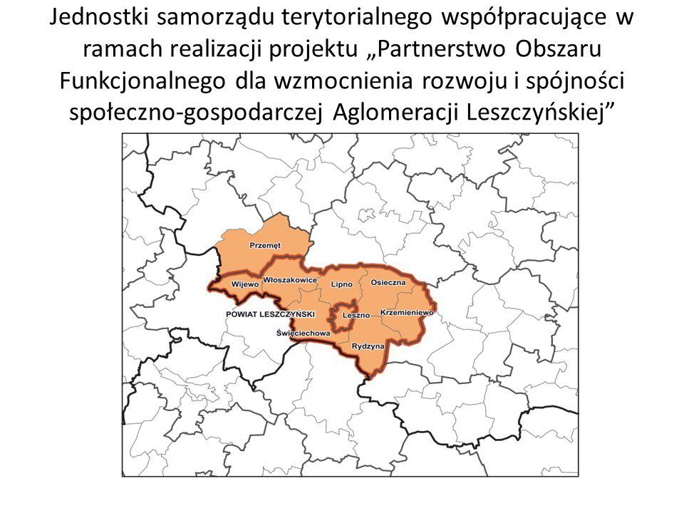 """Jednostki samorządu terytorialnego współpracujące w ramach realizacji projektu """"Partnerstwo Obszaru Funkcjonalnego dla wzmocnienia rozwoju i spójności"""