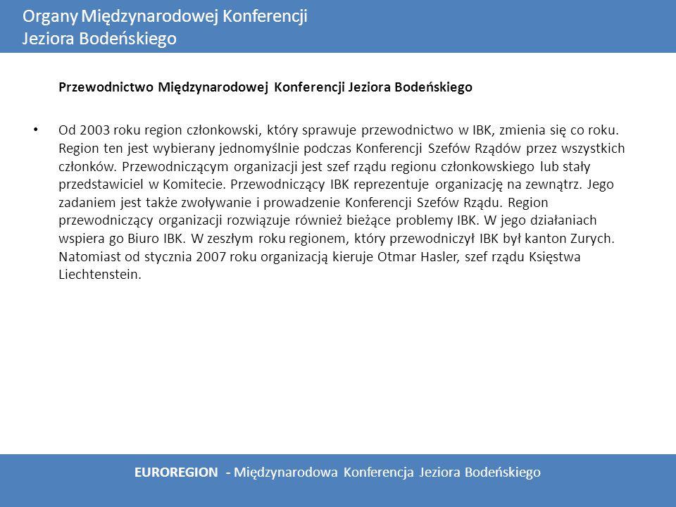 Przewodnictwo Międzynarodowej Konferencji Jeziora Bodeńskiego Od 2003 roku region członkowski, który sprawuje przewodnictwo w IBK, zmienia się co roku