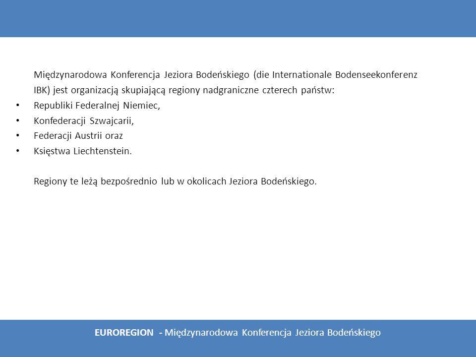 1 Skład organizacji 2 Historia Międzynarodowej Konferencji Jeziora Bodeńskiego 3 Organy Międzynarodowej Konferencji Jeziora Bodeńskiego 3.1 Konferencja Szefów Rządów 3.2 Przewodnictwo Międzynarodowej Konferencji Jeziora Bodeńskiego 3.3 Stały Komitet 3.4 Siedziba 3.5 Tryb głosowania i podejmowania uchwał 3.6 Komisje i grupy robocze 3.7 Budżet 3.8 Członkowie stowarzyszeni 4 Bibliografia EUROREGION - Międzynarodowa Konferencja Jeziora Bodeńskiego Spis treści