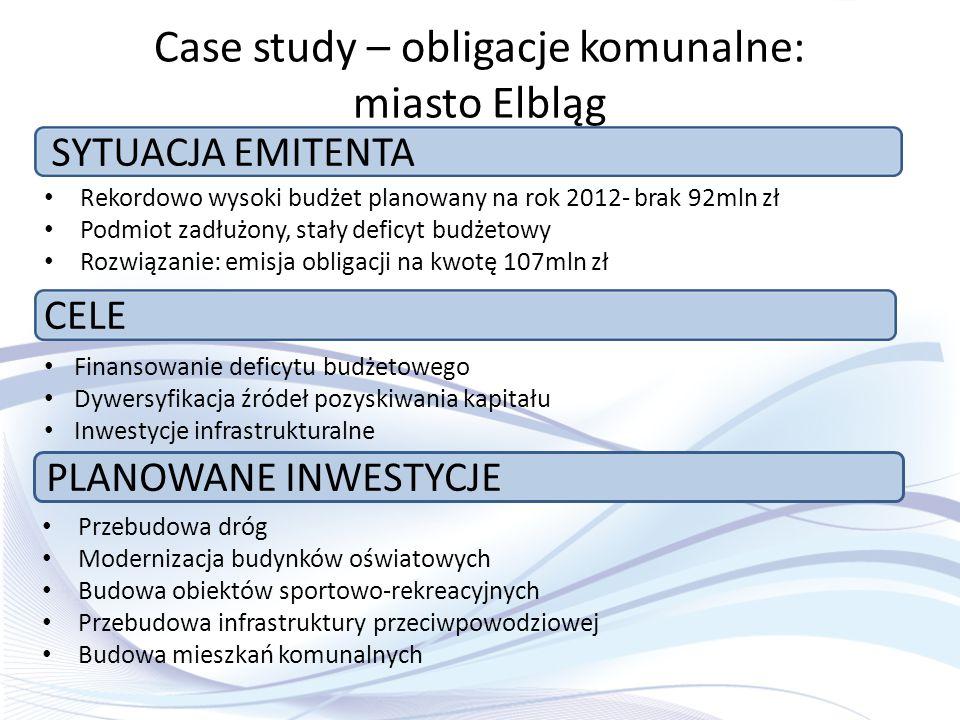 Case study – obligacje komunalne: miasto Elbląg Rekordowo wysoki budżet planowany na rok 2012- brak 92mln zł Podmiot zadłużony, stały deficyt budżetow