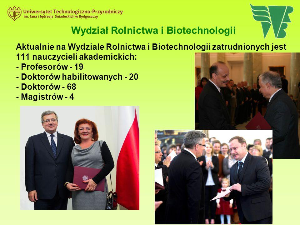 Wydział Rolnictwa i Biotechnologii Aktualnie na Wydziale Rolnictwa i Biotechnologii zatrudnionych jest 111 nauczycieli akademickich: - Profesorów - 19