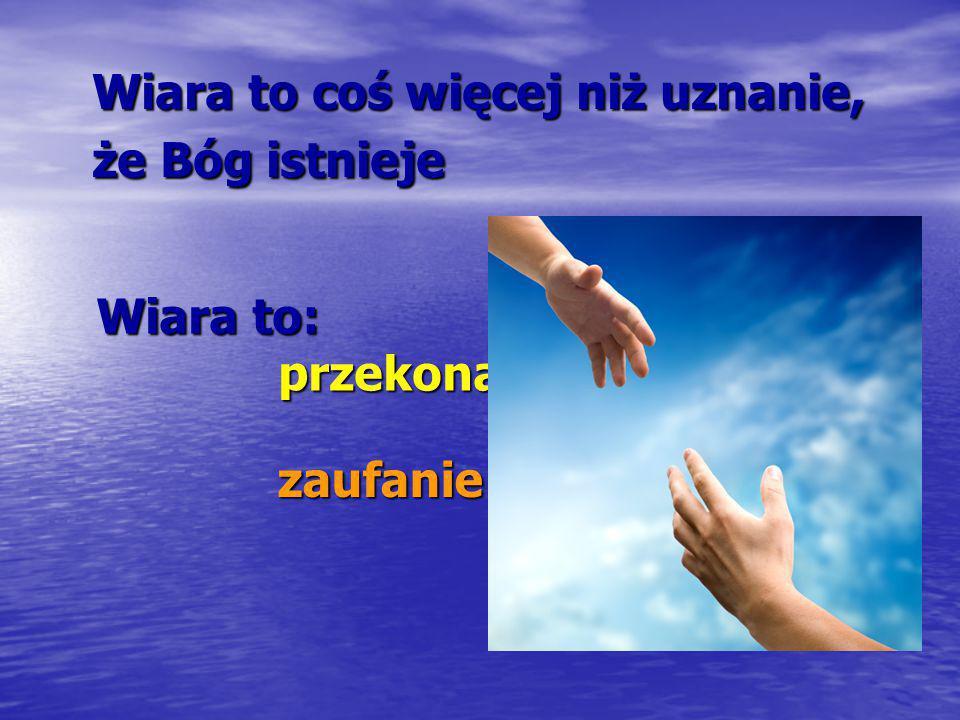 Wiara to coś więcej niż uznanie, że Bóg istnieje zaufanie zaufanie Wiara to: przekonanie Wiara to: przekonanie poleganie na … poleganie na …