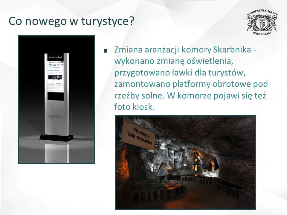 ■ Zmiana aranżacji komory Skarbnika - wykonano zmianę oświetlenia, przygotowano ławki dla turystów, zamontowano platformy obrotowe pod rzeźby solne. W