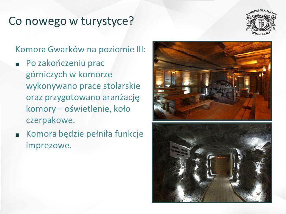 Komora Gwarków na poziomie III: ■ Po zakończeniu prac górniczych w komorze wykonywano prace stolarskie oraz przygotowano aranżację komory – oświetlenie, koło czerpakowe.