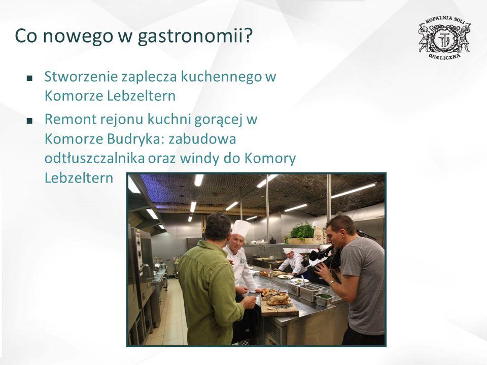 ■ Stworzenie zaplecza kuchennego w Komorze Lebzeltern ■ Remont rejonu kuchni gorącej w Komorze Budryka: zabudowa odtłuszczalnika oraz windy do Komory Lebzeltern Co nowego w gastronomii?
