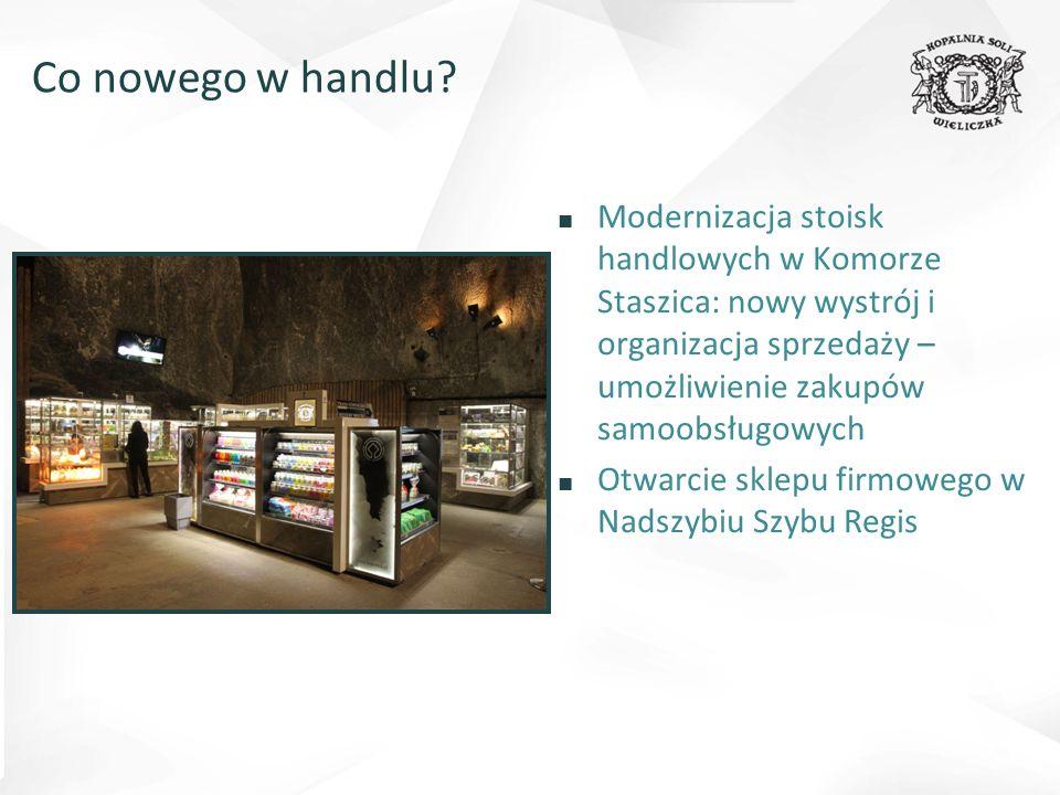 ■ Modernizacja stoisk handlowych w Komorze Staszica: nowy wystrój i organizacja sprzedaży – umożliwienie zakupów samoobsługowych ■ Otwarcie sklepu firmowego w Nadszybiu Szybu Regis Co nowego w handlu?