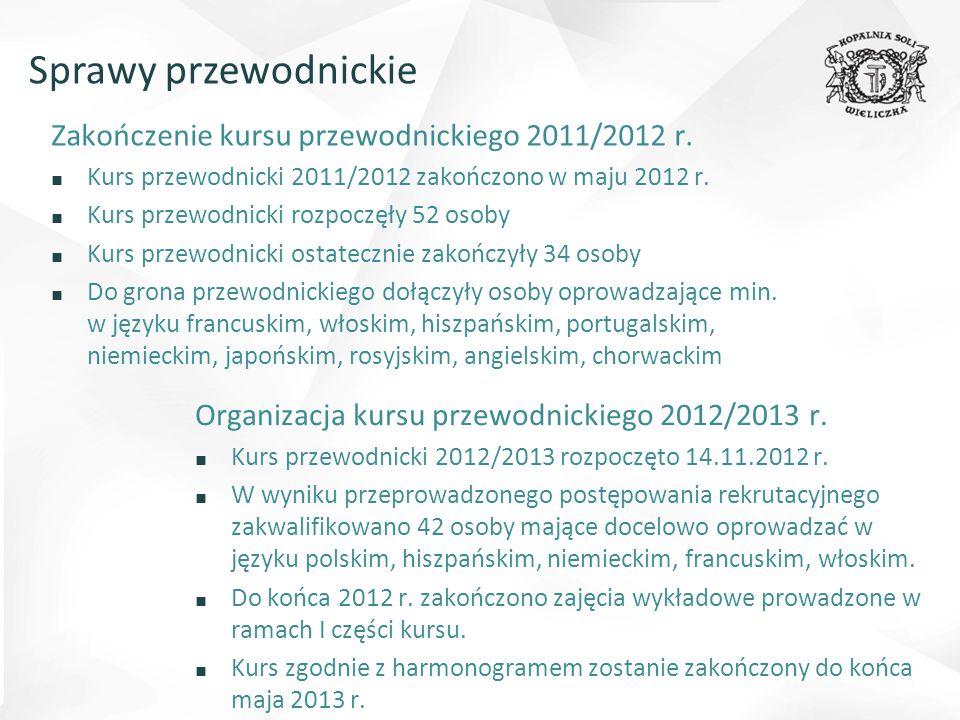 Organizacja kursu przewodnickiego 2012/2013 r. ■ Kurs przewodnicki 2012/2013 rozpoczęto 14.11.2012 r. ■ W wyniku przeprowadzonego postępowania rekruta