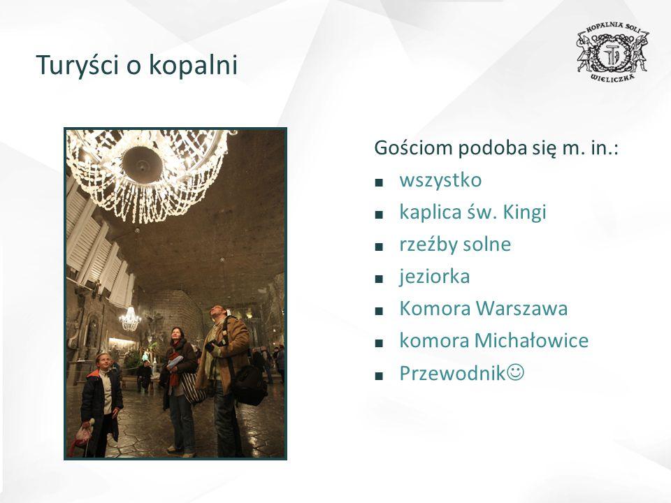 Turyści o kopalni Gościom podoba się m. in.: ■ wszystko ■ kaplica św. Kingi ■ rzeźby solne ■ jeziorka ■ Komora Warszawa ■ komora Michałowice ■ Przewod
