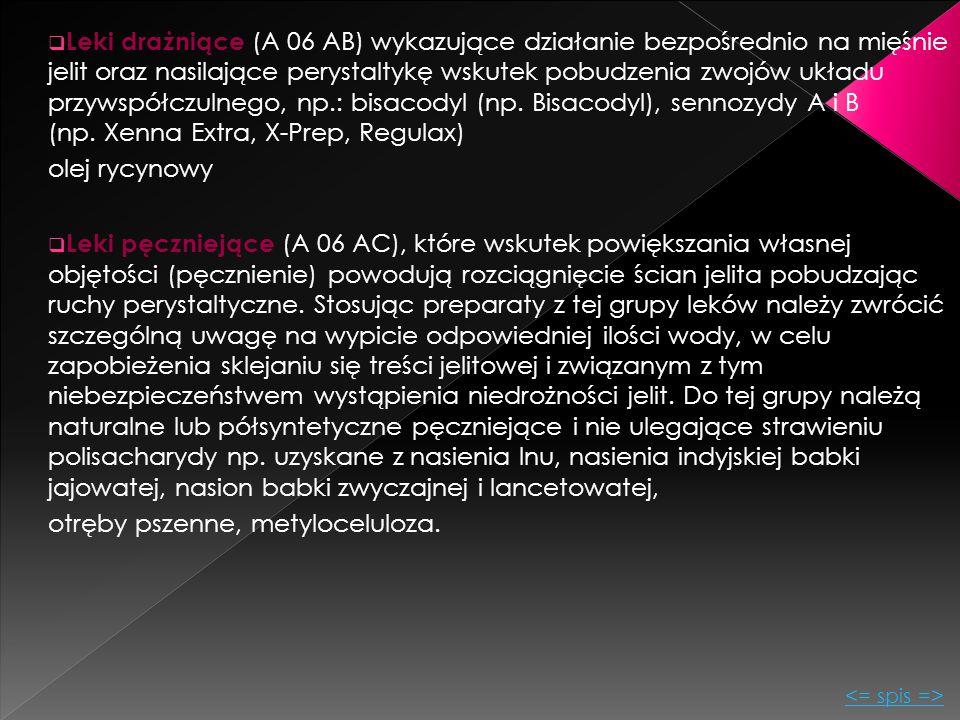  Leki drażniące (A 06 AB) wykazujące działanie bezpośrednio na mięśnie jelit oraz nasilające perystaltykę wskutek pobudzenia zwojów układu przywspółc
