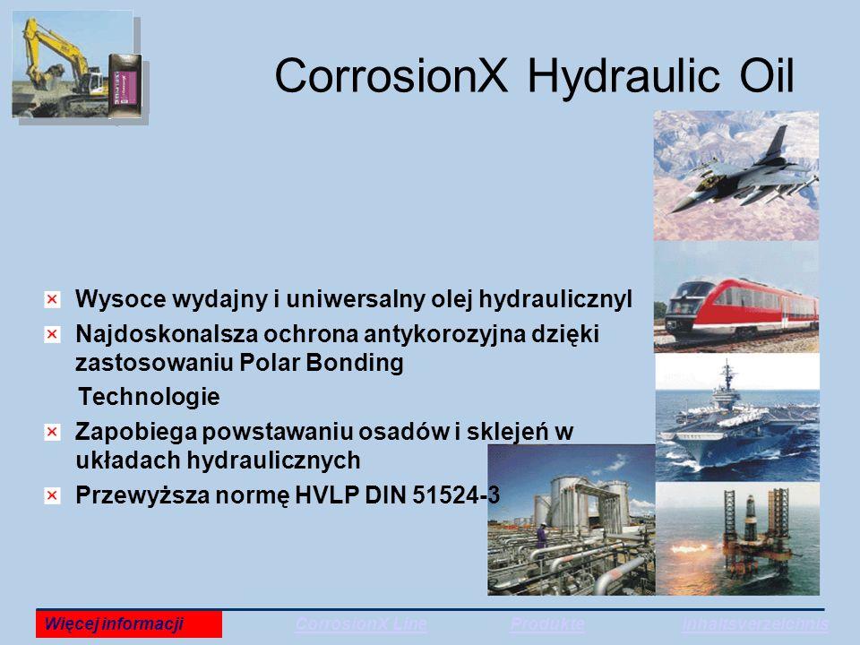 CorrosionX Hydraulic Oil Wysoce wydajny i uniwersalny olej hydraulicznyl Najdoskonalsza ochrona antykorozyjna dzięki zastosowaniu Polar Bonding Technologie Zapobiega powstawaniu osadów i sklejeń w układach hydraulicznych Przewyższa normę HVLP DIN 51524-3 Więcej informacjiCorrosionX LineProdukteInhaltsverzeichnis